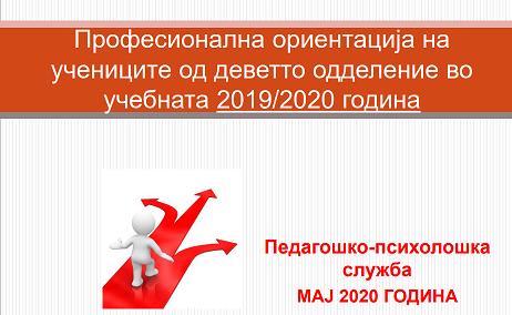 Професионална ориентација на учениците од деветто одделение во учебната 2019-2020 година